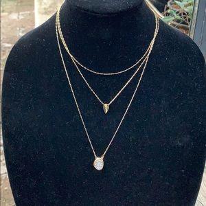 Baublebar 3 layer gold tone druzy necklace.